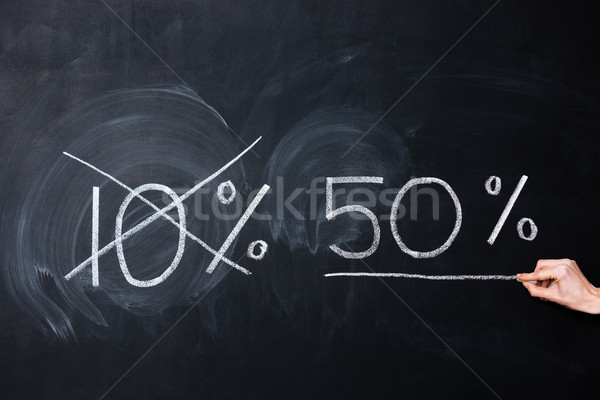 Ten and fifty percent drawn on blackboard Stock photo © deandrobot