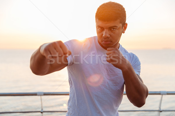 Handsome african man boxer practicing martial arts in the morning Stock photo © deandrobot