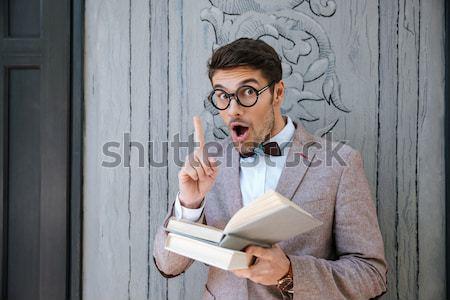 Genç inek öğrenci adam kitaplar fikir şık Stok fotoğraf © deandrobot