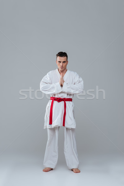 Handsome sportsman in kimono practice in karate while posing Stock photo © deandrobot