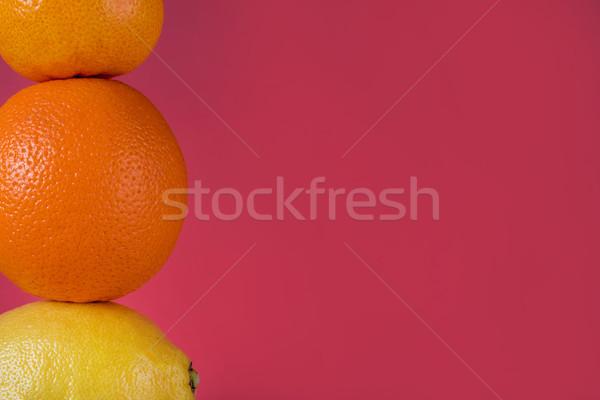 Kép érett friss citrus gyümölcsök mandarin Stock fotó © deandrobot