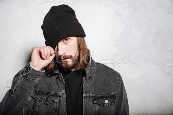 человека борода позируют глядя портрет Сток-фото © deandrobot