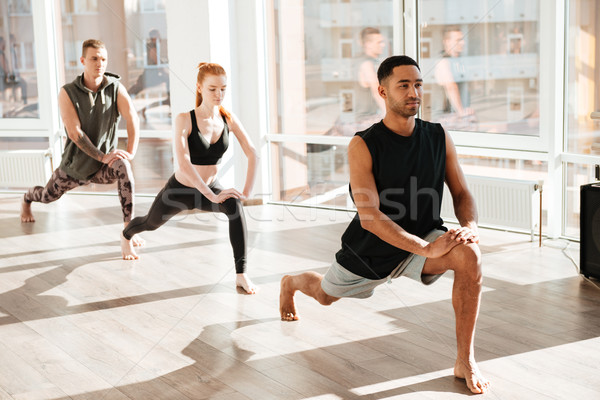 Group of barefoot people doing yoga exercises in studio Stock photo © deandrobot