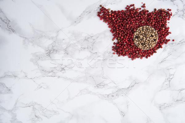 Picante blanco rojo tazón superior vista Foto stock © deandrobot