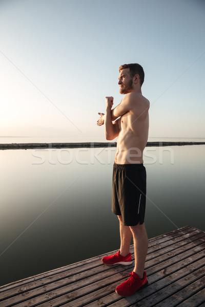 Portrait jeunes torse nu up jogging Photo stock © deandrobot