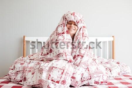 Fiatal nő pléd fiatal figyelmes nő hálószoba Stock fotó © deandrobot