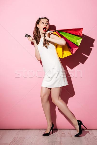 Geschokt jonge brunette vrouw afbeelding Stockfoto © deandrobot