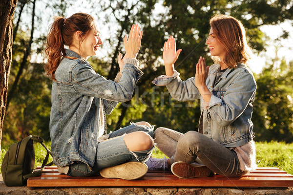 Two attractive young girls in casual jeans wear clap their hands Stock photo © deandrobot