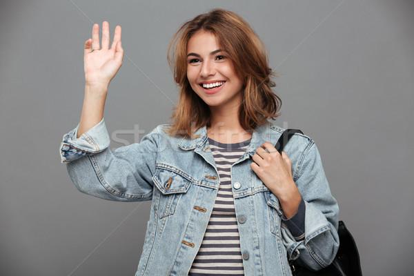 Portret aantrekkelijk glimlachend meisje denim jas Stockfoto © deandrobot