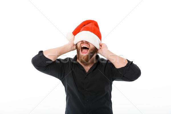Gritando barbudo homem camisas natal Foto stock © deandrobot