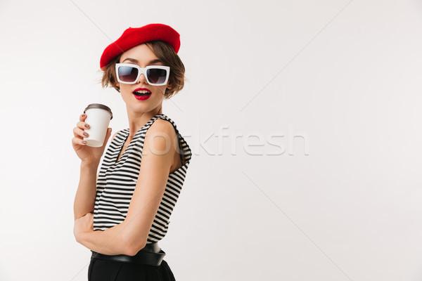 портрет красивая женщина красный берет Сток-фото © deandrobot
