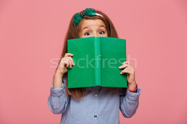Aranyos lány évek visel haj szórakozás Stock fotó © deandrobot