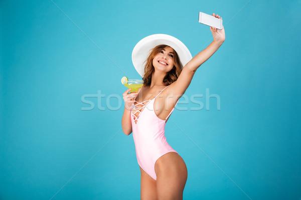 Portret dość dziewczyna strój kąpielowy lata hat Zdjęcia stock © deandrobot