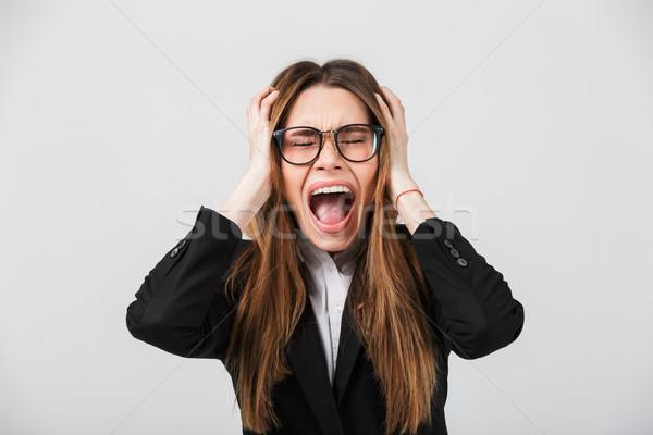 Portret wściekły kobieta interesu garnitur krzyczeć odizolowany Zdjęcia stock © deandrobot