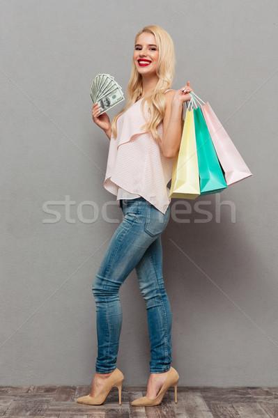 Tam uzunlukta portre kadın para Stok fotoğraf © deandrobot