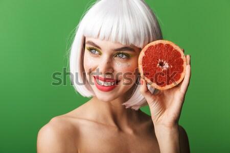 Schönheit Porträt aufgeregt Hälfte nackt Frau Stock foto © deandrobot