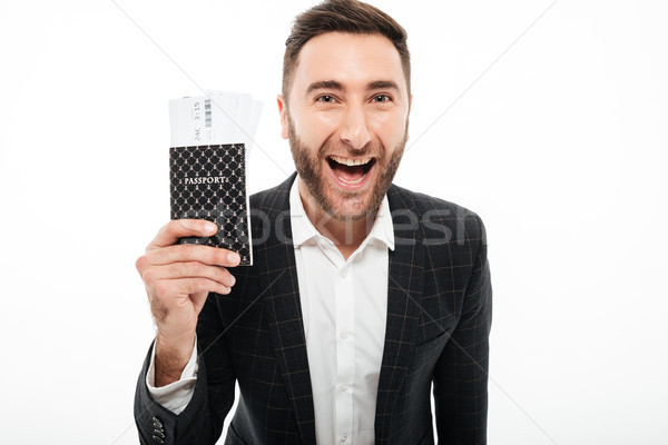 Stock photo: Close up portrait of a happy excited man