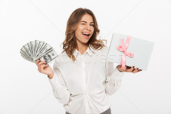 Portret podniecony młodych business woman ceny Zdjęcia stock © deandrobot