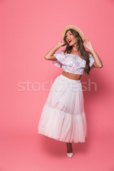Foto stock: Retrato · atraente · morena · mulher · 20s