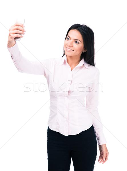 ストックフォト: 幸せ · 女性実業家 · 写真 · スマートフォン · 孤立した