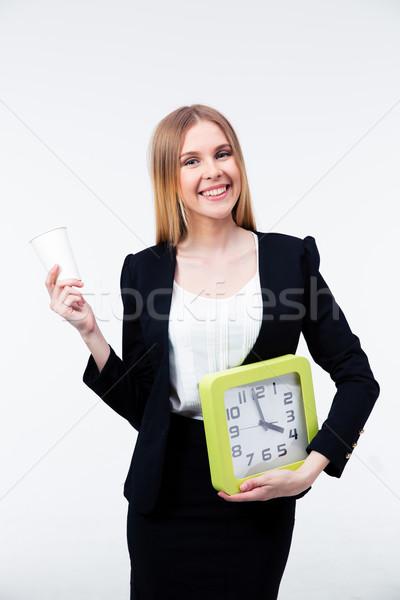 Taza café grande reloj sonriendo Foto stock © deandrobot