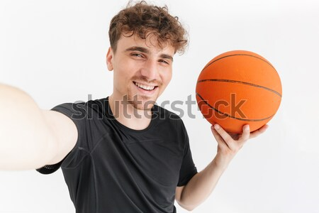 Kosárlabdázó labda ujj mosolyog izolált fehér Stock fotó © deandrobot