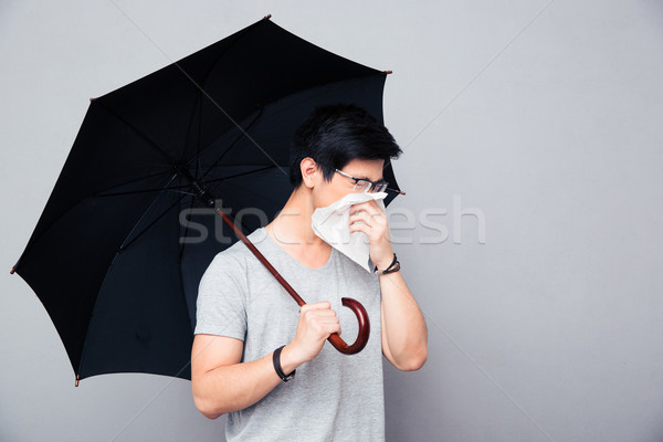 больным азиатских человека зонтик сморкании Сток-фото © deandrobot