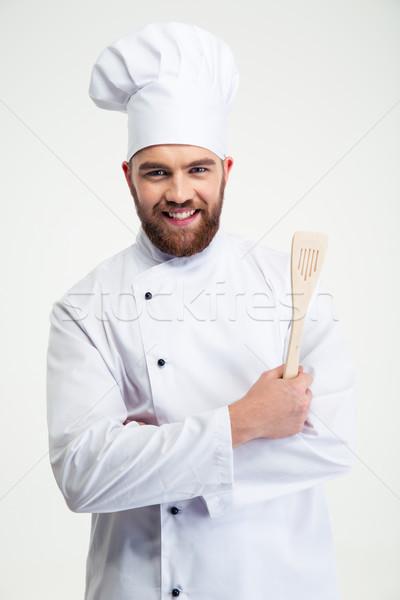 Zdjęcia stock: Portret · uśmiechnięty · kucharz · gotować · łyżka