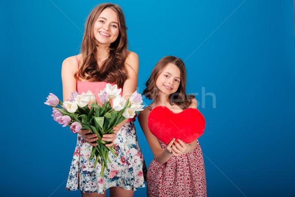 Stockfoto: Twee · vrolijk · cute · zusters · boeket