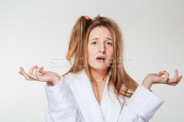 Vicces nő fésű haj izolált fehér Stock fotó © deandrobot