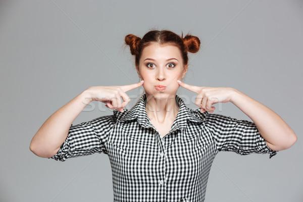 забавный довольно девушки смешное лицо серый Сток-фото © deandrobot