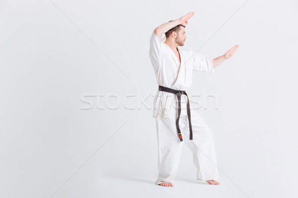 Man in kimono preparing for fighting Stock photo © deandrobot