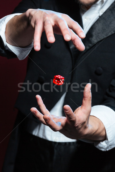 Hands of man magician making red dice flying in air Stock photo © deandrobot
