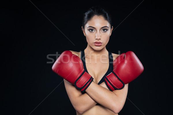 Női boxoló mutat stop kézmozdulat kezek Stock fotó © deandrobot