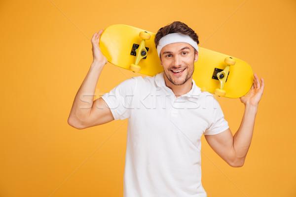 молодые фигурист скейтборде Плечи Сток-фото © deandrobot