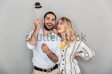 Zwei glücklich Frauen Engagement Party Flasche Stock foto © deandrobot