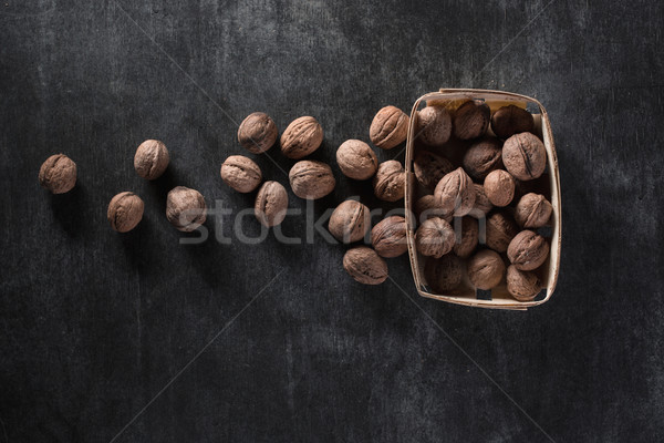 Top view image of walnuts Stock photo © deandrobot