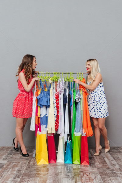 Side view of two women standing near the rack Stock photo © deandrobot
