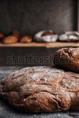 Brood meel donkere houten tafel bakkerij afbeelding Stockfoto © deandrobot
