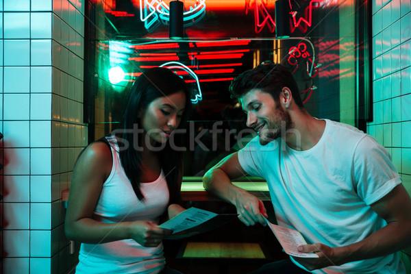 Сток-фото: счастливым · любящий · пару · сидят · кафе