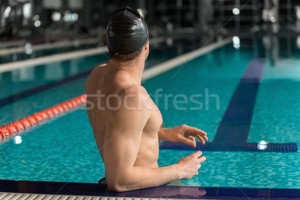вид сзади мужчины пловец Постоянный край Бассейн Сток-фото © deandrobot