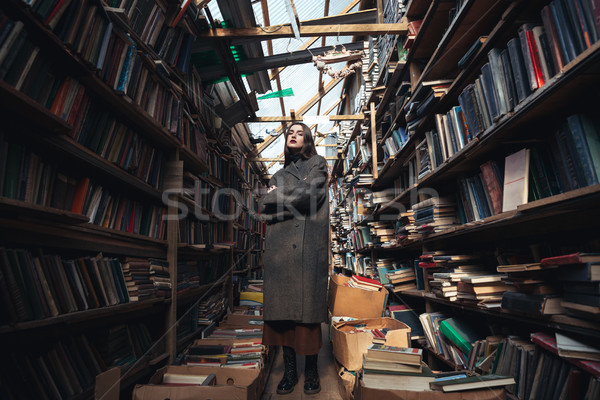 Full length portrait of a stylish woman in big coat Stock photo © deandrobot
