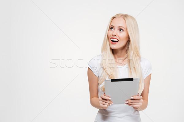 Portre heyecanlı sarışın kadın Stok fotoğraf © deandrobot