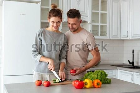 Portret szczęśliwy kochający para gotowania wraz Zdjęcia stock © deandrobot