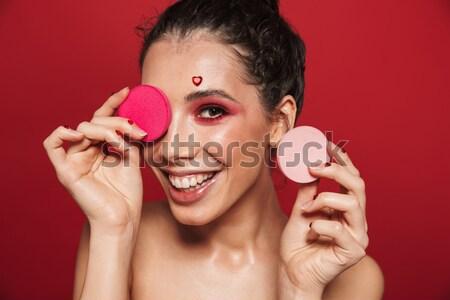 クローズアップ 肖像 愛らしい 女性 黄色 ピンクの唇 ストックフォト © deandrobot