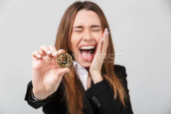 Feliz gritando dorado bitcoin Foto stock © deandrobot