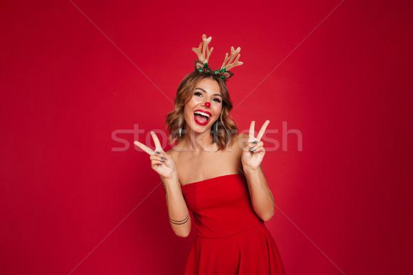 肖像 楽しい 幸せな女の子 着用 クリスマス 鹿 ストックフォト © deandrobot