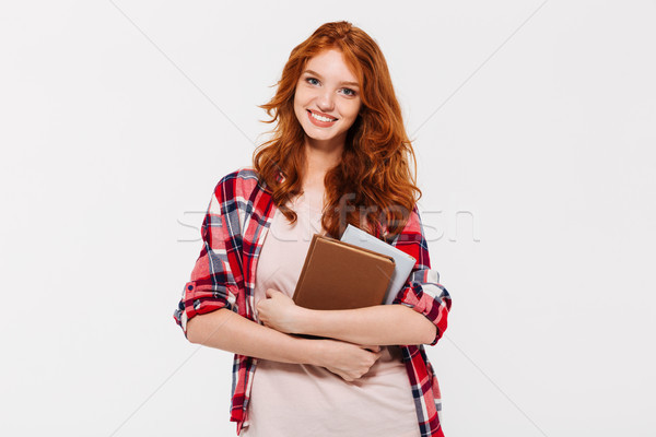 Image souriant gingembre femme shirt Photo stock © deandrobot