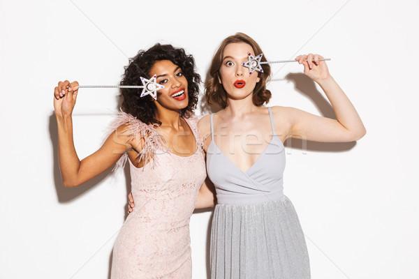 Portré kettő boldog jólöltözött nők szórakozás Stock fotó © deandrobot