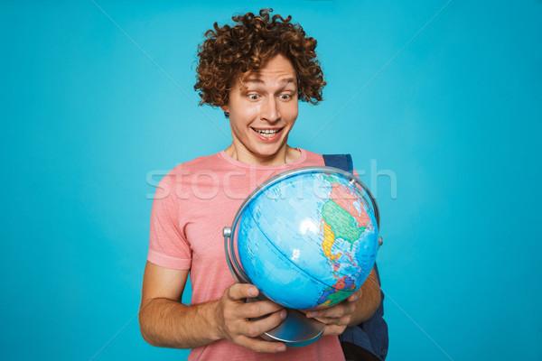 Portré európai diák fickó göndör haj visel Stock fotó © deandrobot